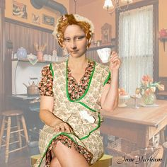 Here's dear Mona doing her housework with her hair in curlers. Of course she had to stop for a brew and a fag!