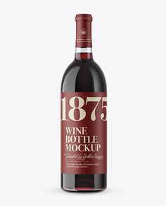 Clear Glass Bottle With Red Wine Mockup Preview