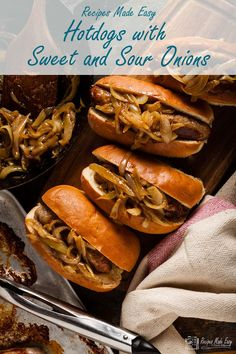 Take your hotdogs to the next level with these hotdogs with sweet and sour onions from Recipes Made Easy. Easy to make and fun to eat. Onion Recipes, Entree Recipes, Pork Recipes, Easy Dinner Recipes, Summer Recipes, Healthy Takeaway, Sausages In The Oven, Recipe Maker, Best Party Food