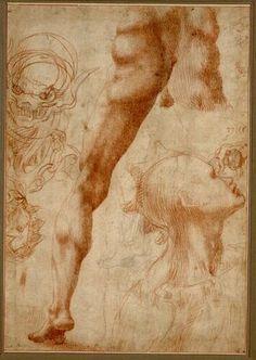 Anonym nach Michelangelo, Studienblatt © Albertina, Wien  #Michelangelo #Renaissance #Drawing #GraphicArt #GraphicCollection #Masterpiece