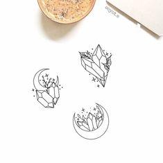 Tattoos, Crystal Drawing, Future Tattoos, Art Tattoo, Cute Tattoos, Crystal Tattoo, Crescent Moon Tattoo, Witch Tattoo, Spiritual Tattoos