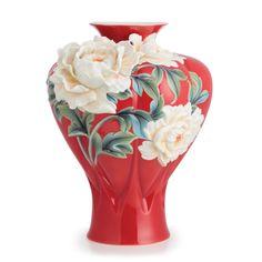 "Franz Porcelain Collection ""Venice"" Peony Design Sculptured Porcelain Large Vase - 10-5/8 x 11-1/4 x 14"