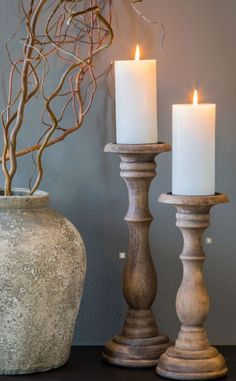 Reclaimed Wood Projects, Wooden Projects, Wooden Candlestick Holders, Candlesticks, Candleholders, Candle Power, Farmhouse Candles, Boutique Deco, Candle Stand