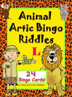 24 Different Bingo Cards: 6 per word position + blends. Guess the riddles for mixed group fun - everyone plays together! All cards have the same animal vocabulary. In addition, specific artic words are printed above each picture, allowing you to mix and match targets. #speech therapy #articulation