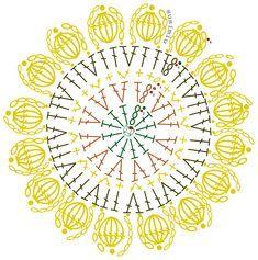Crochet Coaster Pattern, Crochet Mandala Pattern, Crochet Circles, Crochet Flower Patterns, Crochet Diagram, Crochet Chart, Crochet Squares, Crochet Flowers, Crochet Stitches