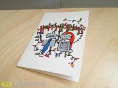 Holiday Robots notecard. $4.50, via Etsy.