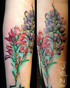 I have always a tattoo with an Indian paintbrush and a blue bonnet for my Texas childhood. At the bottom of this tattoo it even has the outline of Texas, how cool.