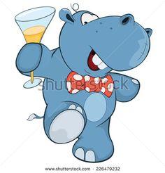 little hippopotamus cartoon   Stock Images similar to ID 61667146 - hippopotamus at water