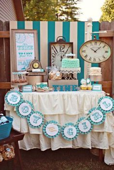 "Beautiful ""It's that Time"" Gender Reveal Shower set up"