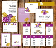 A personal favourite from my Etsy shop https://www.etsy.com/uk/listing/397823087/complete-wedding-template-set-purple-and