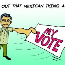 "This drawing provided by Mexican-American syndicated cartoonist Lalo Alcaraz on Wednesday, Oct. 5, 2016 depicts a Latino voter holding a ballot in reaction to Republican vice presidential candidate Mike Pence referring to ""that Mexican thing,"" at the vice presidential debate as he tried to brush aside criticism of Donald Trump's comments about Mexican immigrants. A day after the debate, ""#ThatMexicanThing"" was trending on Twitter as Latinos made fun of the remark with memes, gifs, and…"