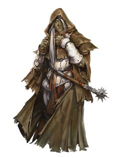 Female Half-Orc Cleric of Milani - Pathfinder PFRPG DND D&D 3.5 5th ed d20 fantasy