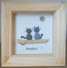 This is a beautiful small Pebble Art framed Picture of 2 Cats - Purrfect  handmade by myself using Pebbles, Driftwood and Wooden Heart Size of Picture incl Box Frame : approx. 12cm x 12cm  This Picture is only available as shown in Photo  Thanks for looking Doris   Facebook: https://facebook.com/Pebbleartbyjewlls4u      Product Code: P - Violet