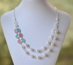 Double Strand Statement Necklace Coral Pink and Mint Ice Jewels and Swarovski Pearls in Silver. Bridal Strand Neklace. Statement Jewelry.