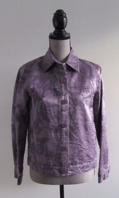 Coldwater Creek Purple Glitter Detail Button Down Dressy Jacket Sz XS #ColdwaterCreek #DressyJacket