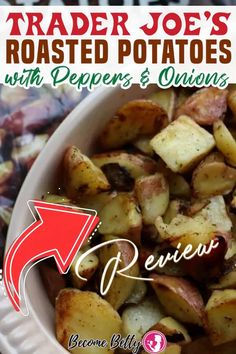 Trader Joe's Roasted Potatoes with Peppers and Onions is a well done all in one bag of potatoes, onions, and peppers. If you are in a smaller household, minimal prep work would make you happy, then this is a perfect bag all prepped and ready to go. This is a pound and a half of mostly potatoes, but also peppers and onions as well. | Become Betty @becomebetty #traderjoespotatoes #traderjoes #traderjoesshopping #traderjoesbreakfast #traderjoesfan #traderjoesreview #becomebetty Easy Freezer Meals, Quick Meals, Trader Joes Vegan, Trader Joe's, Beef Casserole Recipes, Potato Recipes, Romantic Dinner Recipes, Brunch Recipes