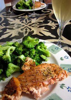 Easy Salmon Recipe. Lemon juice. Lemon pepper. Bake 425 for 20-25 min
