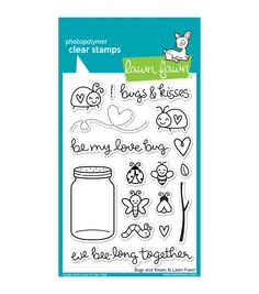 """Lawn Fawn Clear Stamps 4""""X6""""-Bugs & Kisses"""