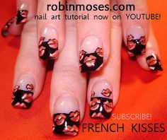 red hot lips nail art with black french kiss tips nails  http://www.youtube.com/watch?v=VK-EVAzB0Rk