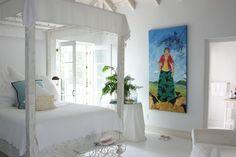 beach decor white bedroom Turks & Caicos villa