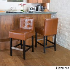Tate Tufted Leather Back Bar Stools (Set of by Christopher Knight Home (Tate Brown Leather Back Bar Stool (Set of (Bonded Leather) Leather Counter Stools, 30 Bar Stools, Back Bar, Dining Area, Dining Chairs, Upholstery, Christopher Knight, Home Decor, Bonded Leather