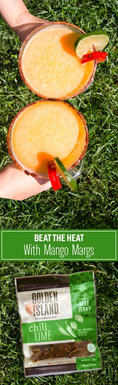 Soak up the last days of summer by sipping on chili lime mango margaritas with Chili Lime beef jerky—Mexican and Asian fusion.  Instructions: Blend mango chunks, orange juice, lime juice, orange liqueur, white tequila and ice. For the rim, mix chili powder and sea salt. Garnish with lime and red chili pepper, and pair with chili lime beef jerky.