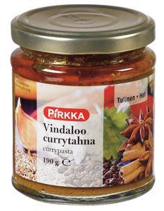 Pirkka vindaloo currytahna on tulinen ja mausteinen intialainen maustetahna ruoanvalmistukseen.