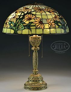 TIFFANY STUDIOS VENETIAN TABLE LAMP BASE WITH AMERICAN LEADED SHADE.