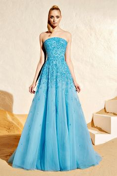 Zuhair Murad 2015: This gown looks like a modern version of a Cinderella gown! I love the baby blue color with the sparkle and shine.