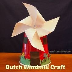 "This Dutch Windmill craft is fun and easy for elementary kids to make. Goes great with ideas for ""countries around the world"" crafts. Around The World Crafts For Kids, Around The World Theme, Holidays Around The World, Art For Kids, Christmas Crafts For Kids, Summer Crafts, Diy Crafts For Kids, Projects For Kids, Arts And Crafts"
