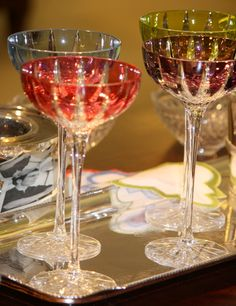 "different champagne/wine glasses for different drinks...champagne in flutes  ""Vita"" tall Cocktail Glasses - William Yeoward"