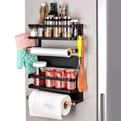 Prep & Savour Multiuse storage - Wall type design, multilayer storage. hand roller easily holds your paper towel, plastic wraps, or aluminum foil, while it's another two shelves store and organize your accessories, seasoning bottle, cup, can, food, or even wine, etc. Elegant and stylish design - Nice decoration and good storage space for the home. Attractive, modern and elegant, looks great on the fridge, in the kitchen, or wherever you install it! this Japanese style bamboo and metal paper Kitchen Organization, Kitchen Storage, Storage Spaces, Organization Ideas, Organizing, Spice Storage, Flexible Wood, Spice Rack Organiser, Paper Towel Holder