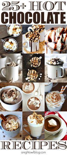 25 Hot Chocolate Recipes - Pumpkin, Peppermint and MORE at anightowlblog.com   #hotchocolate #recipes