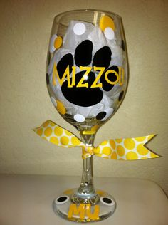 University of Missouri - Mizzou Wine Glass. $13.00, via Etsy.