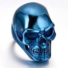 K Mega Jewelry Mens Stainless Steel Ring, Biker, Blue, Sk…