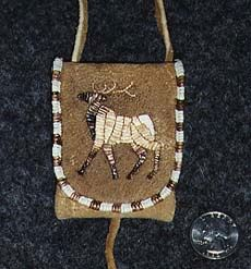 Porcupine Quillwork: The Parallel or Band Technique Indian Beadwork, Native Beadwork, Native American Beadwork, Beaded Purses, Beaded Bags, Embroidery Tools, Beaded Embroidery, Native American Crafts, Medicine Bag