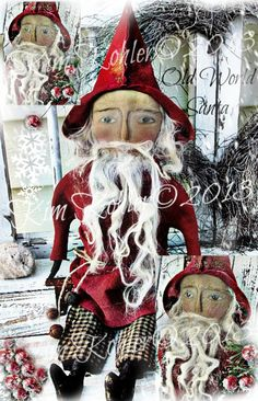 Primitive Santa Doll Pattern E PDF E-Pattern Folk Art Vintage email Christmas Winter Sewing Veenas Mercantile - pinned by pin4etsy.com