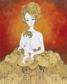 "Artist David Foote's ""Madonna and Child"" series - mother & child fine art illustration"