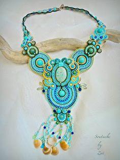El Rinconcito de Zivi: Collar soutache turquesa verde, collar soutache único jaspe turquesa- Unique statement soutache necklace, turquoise jasper soutache necklace