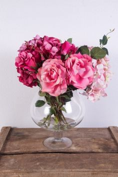 Artificial Hydrangea and Rose in Brandy Glass Vase