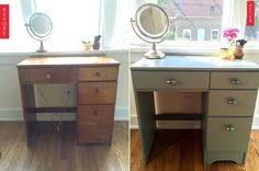 From Drab Desk to Painted Vanity