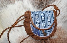 Saami style bag with modern design. Hand made leather bag. Leather Bag, Brown Leather, Jeans Fabric, Folk Costume, White Ribbon, Samara, Modern Outfits, Bucket Bag, Hand Carved