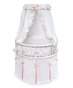 Look at this #zulilyfind! Badger Basket White & Pink Round Bassinet & Bedding Set by Badger Basket #zulilyfinds