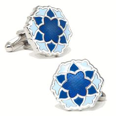 Blue Bloom Cufflinks, UNIQUE CUFFLINKS from Cufflinksman