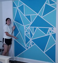 Geometric Accent Wall for my daughter's bedroom. Hyperlapse video in comments. Bedroom Wall Designs, Accent Wall Bedroom, Painters Tape Design, Kids Church Rooms, Black And White Living Room Decor, Geometric Wall Paint, Wall Paint Patterns, Tape Wall, Wall Collage Decor