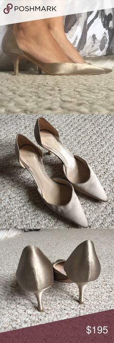 Giorgio Armani Vintage Silk Pumps Gorgeous, classy pumps. Champagne colored silk. Leather soles. 2 3/4 inch heel. Size 37 1/2. They are worn in so they fit more like a roomy size 8. All flaws are pictured. Shoes
