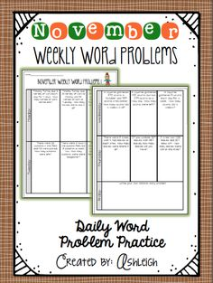 FREE Weekly Word Problems for the entire month of November! Also includes constructed response questions!