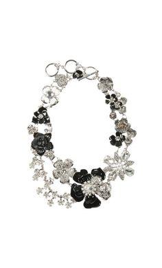 Essentials Evening - Resin Rose & Diamante Garden Collar Necklace - Adorne