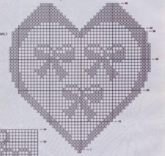 Schemi per il filet: Un cuore con i fiocchi