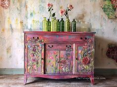 Hand Painted Buffet/Dresser - Amazing how this artist turned this buffet into a gorgeous conversaton piece! Funky Painted Furniture, Paint Furniture, Repurposed Furniture, Furniture Makeover, Antique Furniture, Cool Furniture, Furniture Design, Turquoise Furniture, Bohemian Furniture